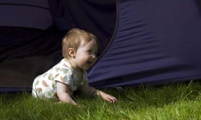 baby camping in tent