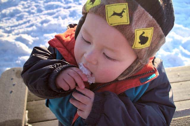 baby eating snow during hike