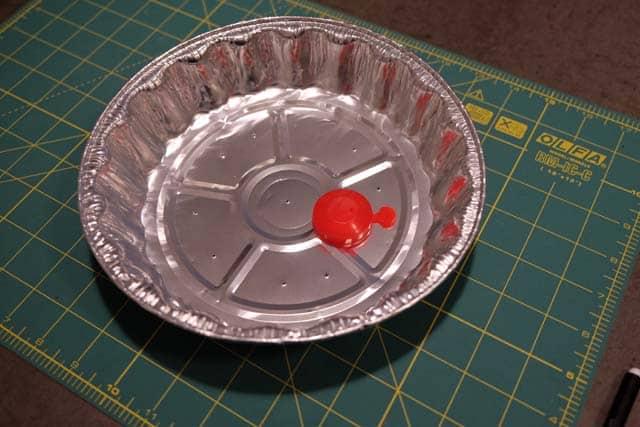 DIY windscreen from pie tin