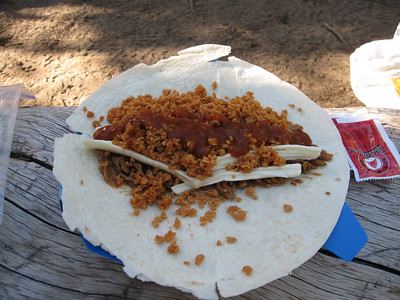 backpacking taco mix and refried beans on tortilla