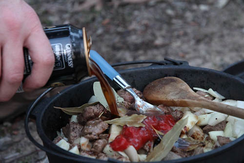 beer stew camping meal
