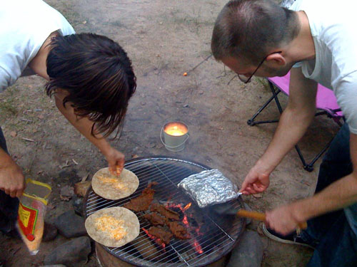 making camping tortillas