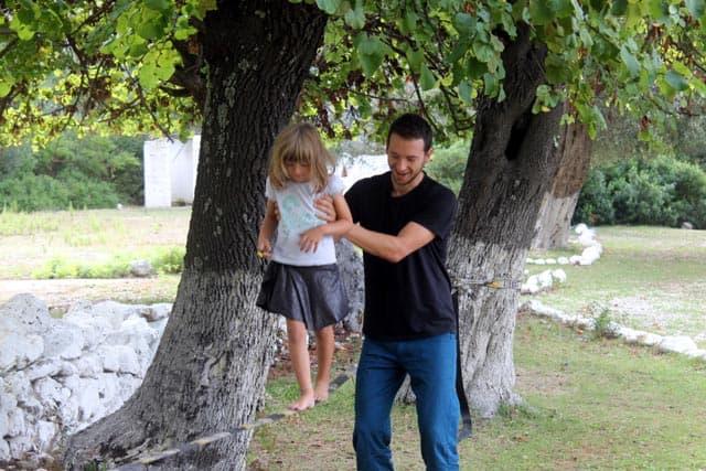 slackline camping activity for kids