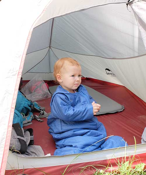 baby in tent and sleeping bag