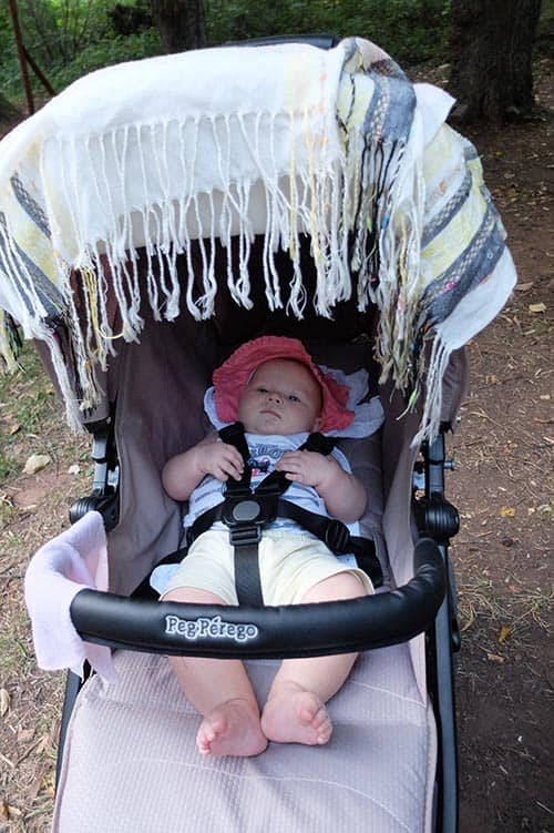 baby hiking in stroller