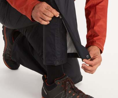 zipper leg openings on rain pants