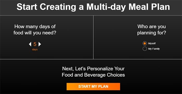 RightOnTrek meal planner step 1
