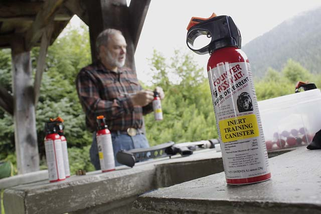 Practice canister of bear spray